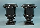 Pair of Black Marble Urns, Contemporary