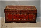 Chinese Export Red Leather Blanket Chest, 19th C