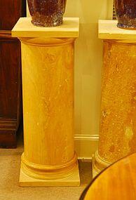 Pair of Sienna Marble Pedestals, Custom-Made