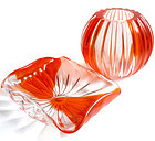 Murano TOSO Red Orange VASE and BOWL Set + Label