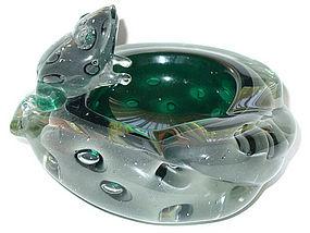Murano BARBINI VAMSA 1930s Green Sfumato FROG Bowl