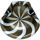 Murano BARBINI 50s BLACK Gold Flecks CIRCUS TENT Bowl