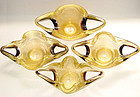 RARE Murano BAROVIER TOSO Gold Flecks Bowls Set of 4!