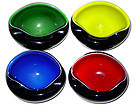 Murano SALVIATI Cased Black MOD POD Bright Color Bowls