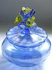 Murano DECO Iridescent BLUE Yellow Flowers Powder Box