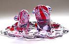 Murano GINO CENEDESE Alexandrite RED SPOTS DART FROGS
