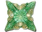 Murano BAROVIER Green Gold Flecks ZEBRATI Spike Bowl