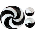 Murano VENINI Black White Swirl Bowl + 2 Dishes Signed