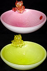 Murano SEGUSO Opalino PINK YELLOW Flowers Bowls