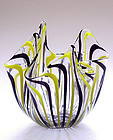 Murano VENINI Yellow Black SIGNED Fazzoletto Vase