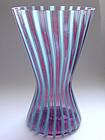 Murano TOSO Pink Blue Filigrana HOURGLASS Vase