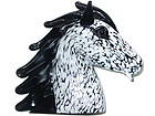 Murano SEGUSO Black White HORSE HEAD Sculpture