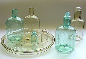 Antique Venetian 4 Piece Hexagonal DECANTER Tray Set