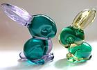 Murano SEGUSO POLI Sommerso Bunny Rabbit Figurines