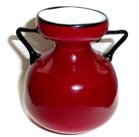 Murano TOSO Deep RED Black Rim Handles HYACINTH Vase