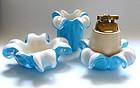 Murano BARBINI 50s Blue GOLD FLECKS Flower Lighter Set