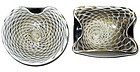 Murano SEGUSO Black White GOLD FLECKS Spider Web Bowls