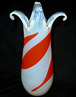 Murano TOSO Opalescent RED Painted Design Flared Vase