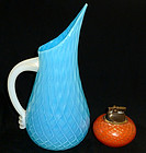 Murano OPALINO Blue GOLD FLECKS Handle QUILTED Pitcher