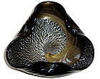 Murano GOLD SILVER Flecks Swirl Black Ribbed Bowl Dish