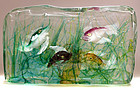 BARBINI CENEDESE Murano 4 Fish AQUARIUM Block Sculpture