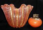 BAROVIER Murano PINK Gold Flecks CORDONATO D' ORO Vase