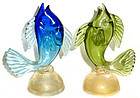 ALFREDO BARBINI Murano GOLD FLECK Sommerso FISH Figures