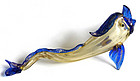 SALVIATI Murano GOLD FLECKS Yellow Blue ANTIQUE Figure
