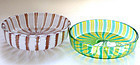 TOSO Murano A CANNE Aventurine Yellow Green Ring Dishes