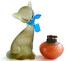 Murano SATIN Marble Fur Art Glass Kitty Cat Sculpture