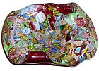 AVEM Murano Red MILLEFIORI Silver Flecks Ribbons Bowl