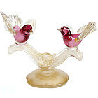 BARBINI Murano 50s PINK GOLD FLECKS 2 Bird Sculpture
