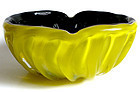 TOSO Murano BLACK Bright YELLOW Cased Vintage Bowl