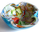 AVEM Murano Blue SILVER FLECKS Zanfirico Ribbons Bowl