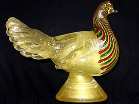 AVEM Murano GOLD FLECKS Ribbons PIGEON BIRD Sculpture