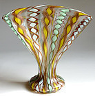 Murano LATTICINO Ribbons Aventurine Flecks FAN Vase