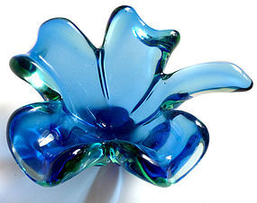 SEGUSO Murano SOMMERSO Cobalt Blue Leaf Shape Bowl Dish