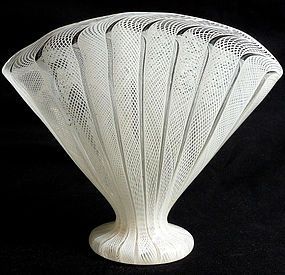 Murano White ZANFIRICO Net Ribbons FAN Shape Blown Vase