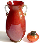Murano RED GOLD FLECKS High Gloss Surface Flower Vase