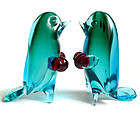 Murano SOMMERSO Blue Green Red Gloves BOXING Birds (2)