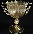 Antique GOLD FLECKS Crown Rim Ornate Handles Cup Vase