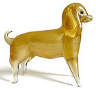 Murano GOLD FLECKS Puppy Dog Sculpture Manner of SEGUSO