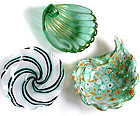 Murano GOLD FLECKS Shell MILLEFIORI Ribbons Ring Bowls