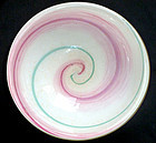 Murano GOLD FLECKS Pink Green Optic Swirl Round Bowl