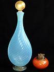 Murano GOLD FLECKS Opal BLUE Ribbed Bottle Decanter