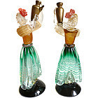 SALVIATI Murano Gold Fleck Wine Bearer Women Sculptures