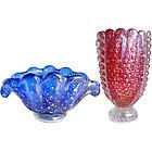 BAROVIER Murano IRIDESCENT Red Vase Cobalt Blue Bowl