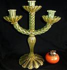 BAROVIER Murano GOLD FLECKS GREEN Stripe Candlestick
