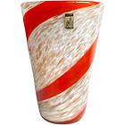 FRATELLI TOSO Murano RED Stripe Aventurine Flower Vase