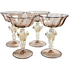 SALVIATI Venetian GOLD FLECKS Double SWAN Stem Glasses